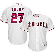 Majestic Men's Replica Los Angeles Angels Mike Trout #27 Cool Base Home White Jersey