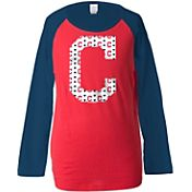 5th & Ocean Youth Girls' Cleveland Indians Raglan Red Long Sleeve Shirt