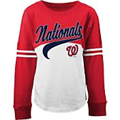 5th & Ocean Youth Girls' Washington Nationals Pink/White Three-Quarter Sleeve Shirt