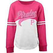 5th & Ocean Youth Girls' Pittsburgh Pirates White/Pink Three-Quarter Sleeve Shirt