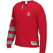 adidas Men's Houston Rockets On-Court Red Long Sleeve Shooting Shirt