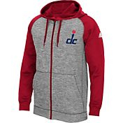 adidas Men's Washington Wizards climawarm Team Issue Grey/Red Full-Zip Hoodie