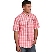 Antigua Men's North Carolina State Wolfpack Red Plaid Short Sleeve Button Down Shirt