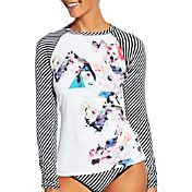 CALIA by Carrie Underwood Women's Mixed Print Long Sleeve Rash Guard