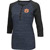 Colosseum Women's Auburn Tigers Blue Three-Quarter Sleeve Henley Shirt
