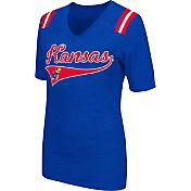Colosseum Athletics Women's Kansas Jayhawks Blue Artistic V-Neck T-Shirt