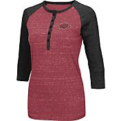 Colosseum Women's Arkansas Razorbacks Cardinal Three-Quarter Sleeve Henley Shirt