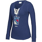 CCM Women's New York Rangers Navy Lace Up Henley