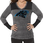 G-III for Her Women's Carolina Panthers Goal Line Black Long Sleeve Shirt