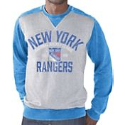 G-III Men's New York Rangers Zone Blitz Grey Burnout Fleece Sweatshirt