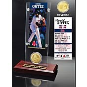 Highland Mint David Ortiz Boston Red Sox Ticket and Bronze Coin Acrylic Desktop Display