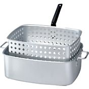 King Kooker 15 Quart Rectangular Aluminum Deep Fryer Pan with Handles and Basket