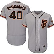 Majestic Men's Authentic San Francisco Giants Madison Bumgarner #40 Alternate Road Grey Flex Base On-Field Jersey