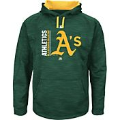 Majestic Men's Oakland Athletics Therma Base On-Field Green Authentic Collection Pullover Hoodie