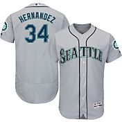 Majestic Men's Authentic Seattle Mariners Felix Hernandez #34 Road Grey Flex Base On-Field Jersey