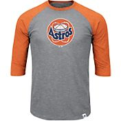 Majestic Men's Houston Astros Cooperstown Grey/Orange Raglan Three-Quarter Sleeve Shirt