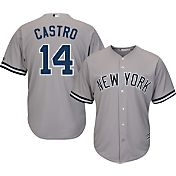 Majestic Men's Replica New York Yankees Starlin Castro #14 Cool Base Road Grey Jersey
