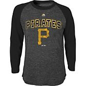 Majestic Youth Pittsburgh Pirates Black Raglan Long Sleeve Shirt