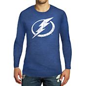 Majestic Threads Men's Tampa Bay Lightning Royal Tri-Blend Long Sleeve T-Shirt
