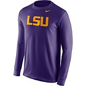 Nike Men's LSU Tigers Purple Wordmark Long Sleeve Shirt