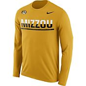 Nike Men's Missouri Tigers Gold Staff Sideline Long Sleeve Shirt