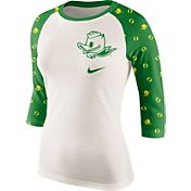Nike Women's Oregon Ducks Cream/Apple Green Veer Tri-Blend Three-Quarter Raglan Shirt