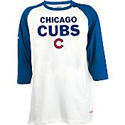 Stitches Men's Chicago Cubs Raglan White/Royal Three-Quarter Sleeve Shirt