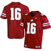 Under Armour Men's Wisconsin Badgers #16 Red Premier Replica Football Jersey