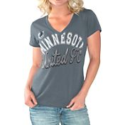 G-III For Her Women's Minnesota United FC Homefield Black Slub T-Shirt