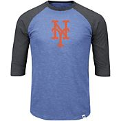 Majestic Men's New York Mets Royal/Grey Raglan Three-Quarter Sleeve Shirt