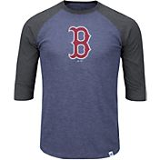 Majestic Men's Boston Red Sox Navy/Grey Raglan Three-Quarter Sleeve Shirt