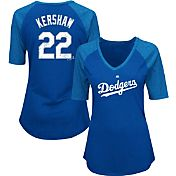 Majestic Women's Los Angeles Dodgers Clayton Kershaw #22 Royal Raglan V-Neck Half-Length Sleeve Shirt