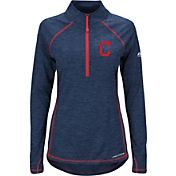 Majestic Women's Cleveland Indians Cool Base Navy Half-Zip Pullover