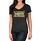 Majestic Women's Pittsburgh Penguins Stick to Stick Black V-Neck T-Shirt