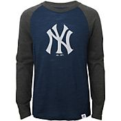 Majestic Youth New York Yankees Navy/Grey Raglan Three-Quarter Sleeve Shirt