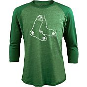 Majestic Threads Men's Boston Red Sox St. Patrick's Day Green Raglan Three-Quarter Shirt
