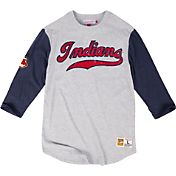 Mitchell & Ness Men's Cleveland Indians Grey/Navy Three-Quarter Raglan Sleeve Shirt
