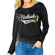 Soft As A Grape Women's Chicago Blackhawks Burnout Black Fleece Sweatshirt